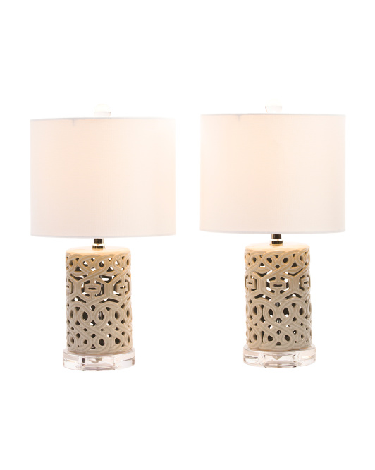 Set Of 2 Pierced Ceramic Table Lamps