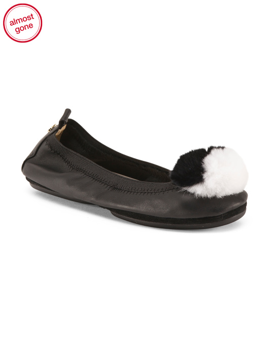 Leather Ballet Flats With Pom
