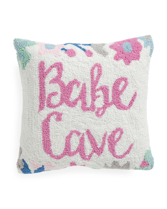 16x16 Hand Hooked Babe Cave Pillow