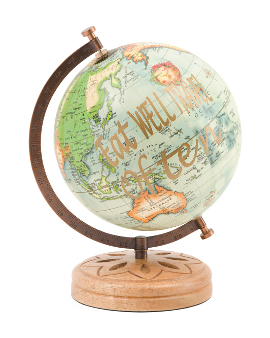 Made In India Colored Globe On Wood Base