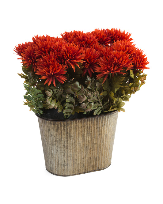20in Faux Mums In Metal Pot