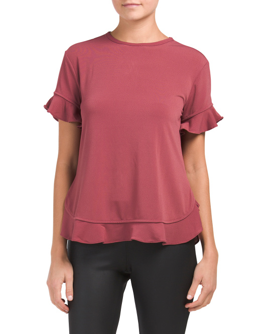 Moss Crepe Ruffle Trim Top