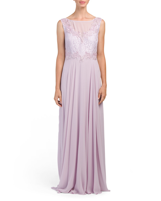Sleeveless Gown With Lace