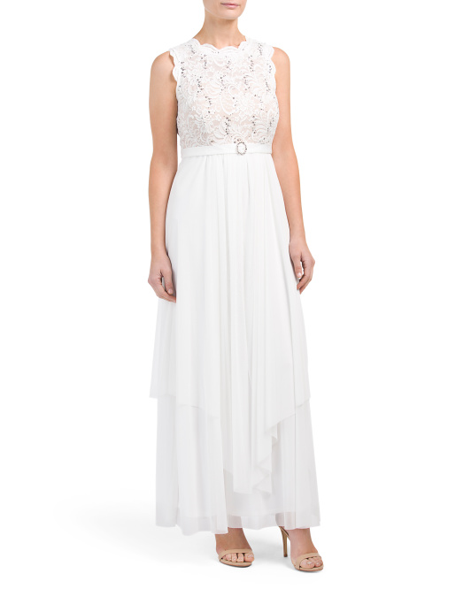 Petite Lace Bodice Belted Gown