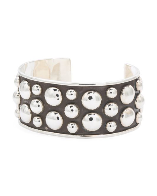 Made In Mexico Sterling Silver Bead Cuff Bracelet