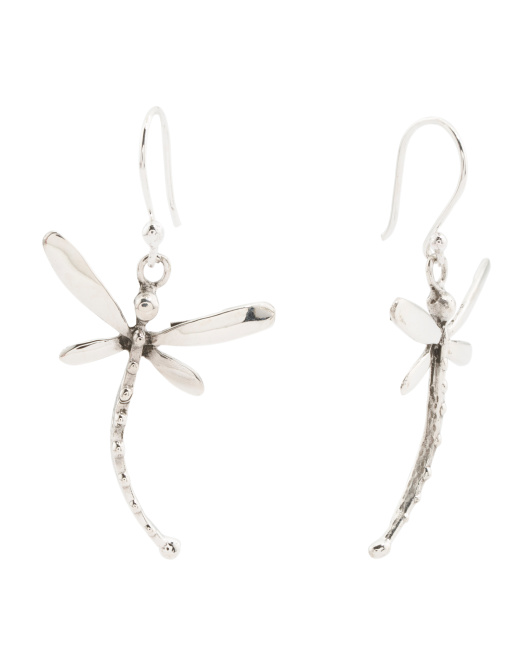 Made In Mexico Sterling Silver Dragonfly Earrings