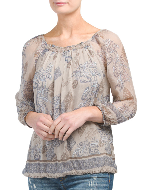 Made In Italy Paisley Print Silk Blouse
