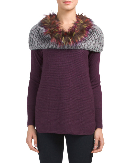 Knit Neck Loop With Faux Fur Trim