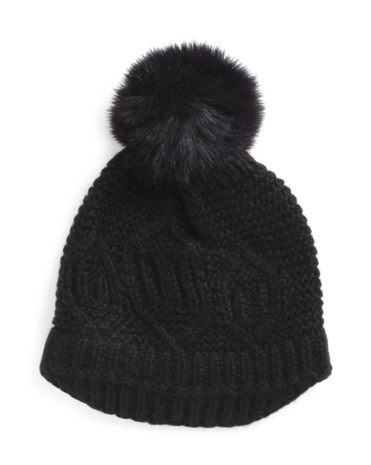 Knit Slouch Hat With Faux Fur Pom Pom