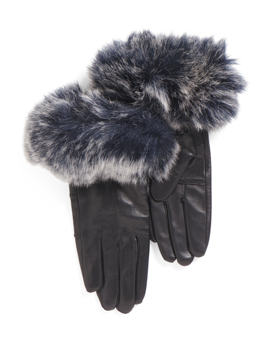 Leather Glove With Faux Fur Cuffs