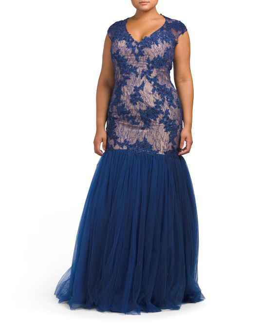 Plus Fitted Lace Gown With Tulle
