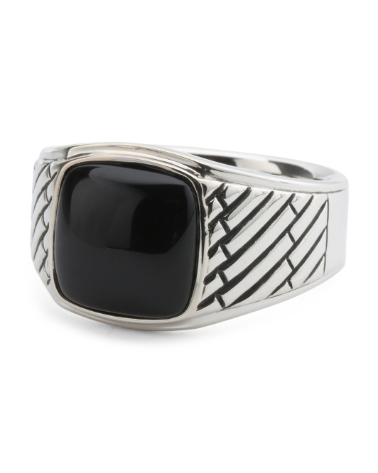 Men's Sterling Silver Genuine Onyx Signet Ring