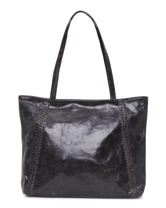 Side Braid Leather Tote