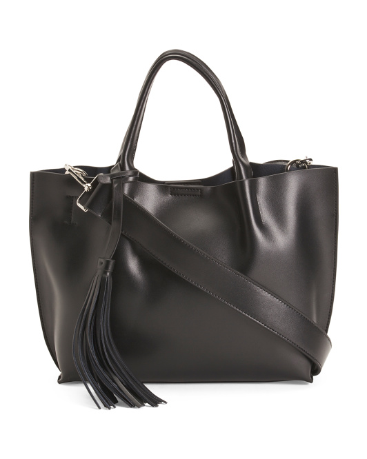 Leather Satchel With Removable Strap