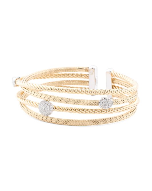 Made In Italy Gold Plated Sterling Silver Cz Cable Bracelet