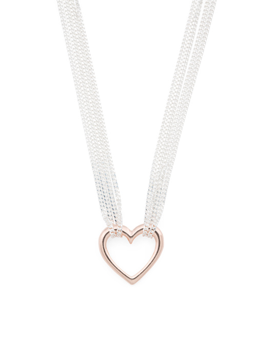 Made In Italy Sterling Silver Multi Strand Heart Necklace
