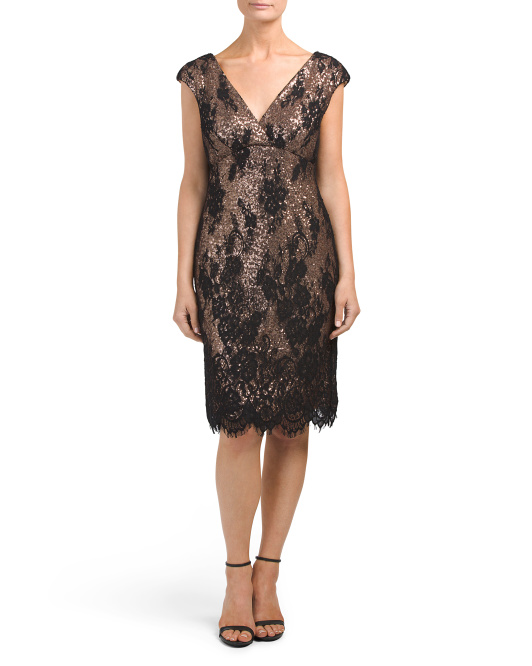 Contrasting Sequin Lace Dress