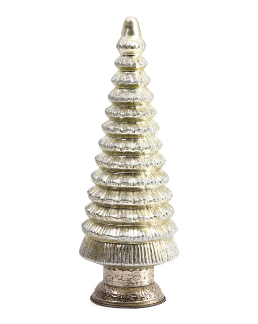 Made In India 17in Glass Tiered Tree Decor
