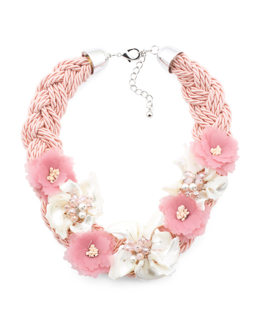 Shell 7 Flower Braided Rope Necklace