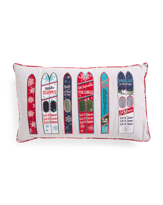 14x24 Graphic Skis Pillow
