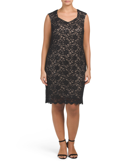 Plus Made In USA Floral Lace Dress