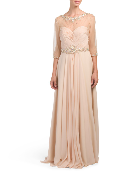 Elbow Sleeve Embellished Gown