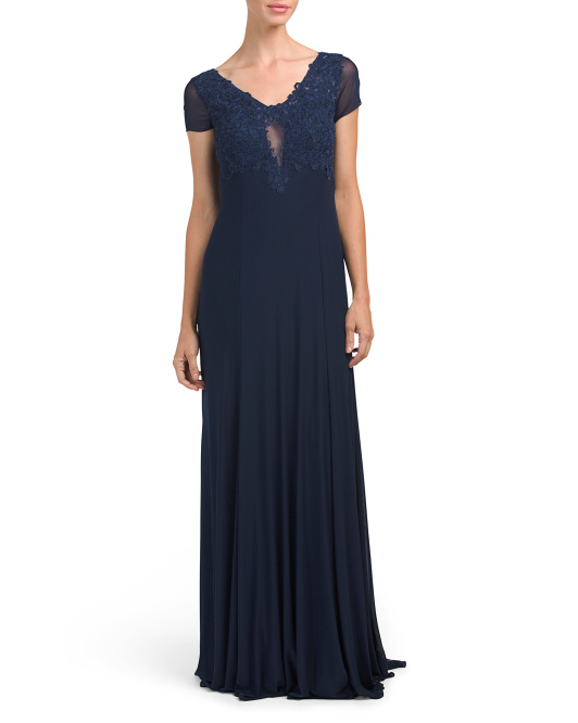 V Neck Lace Gown