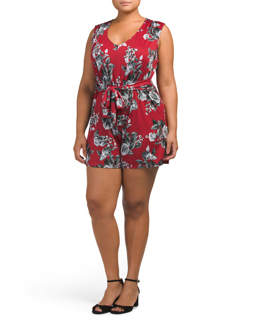 Plus Made In USA Floral Romper