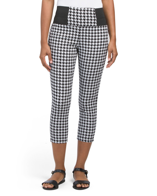 Juniors Houndstooth Crop Pants