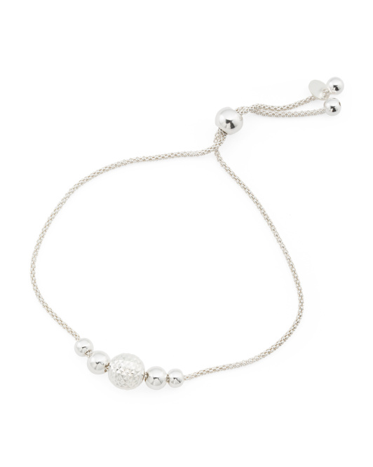 Made In Italy Sterling Silver Beaded Friendship Bracelet