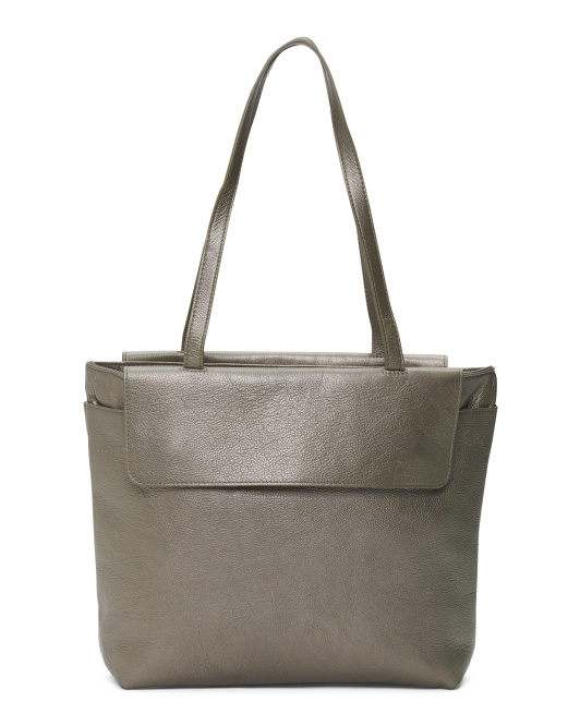 Small Flap Leather Tote