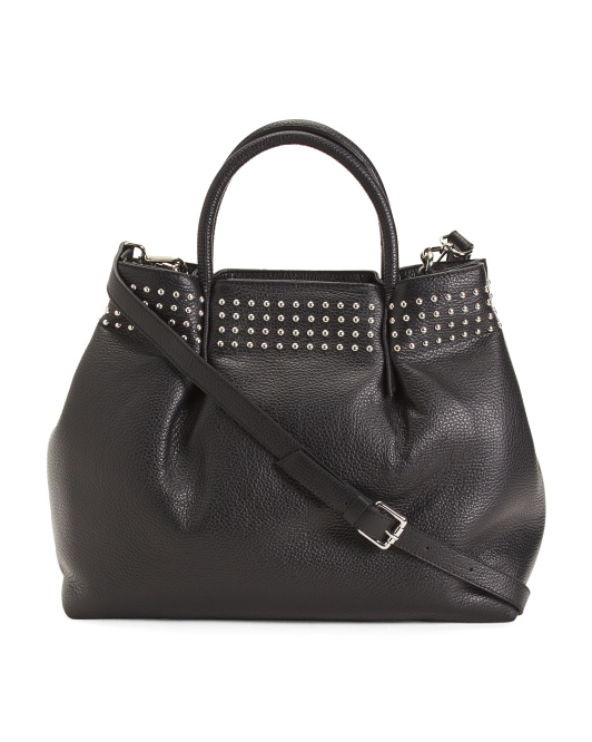 Made In Italy Leather Satchel With Studs