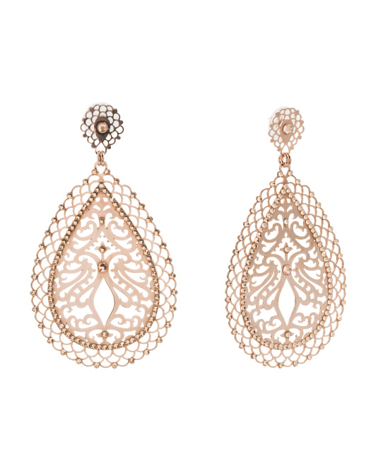 Made In Israel Rose Gold Plated Crystal Drop Earrings