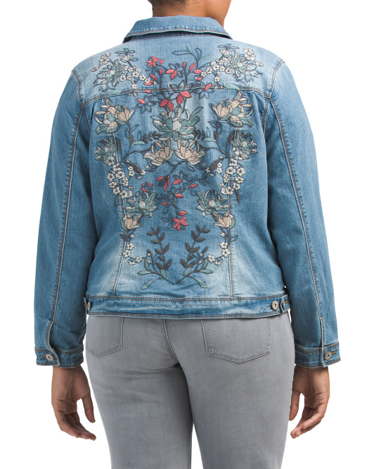Plus Embroidered Back Denim Jacket