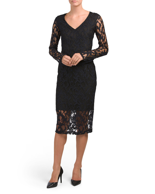 Lace Midi Dress With Back Cut Out