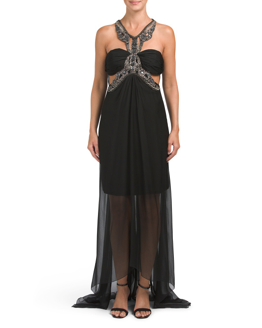 Made In USA Beaded Belt Silk Chiffon Gown