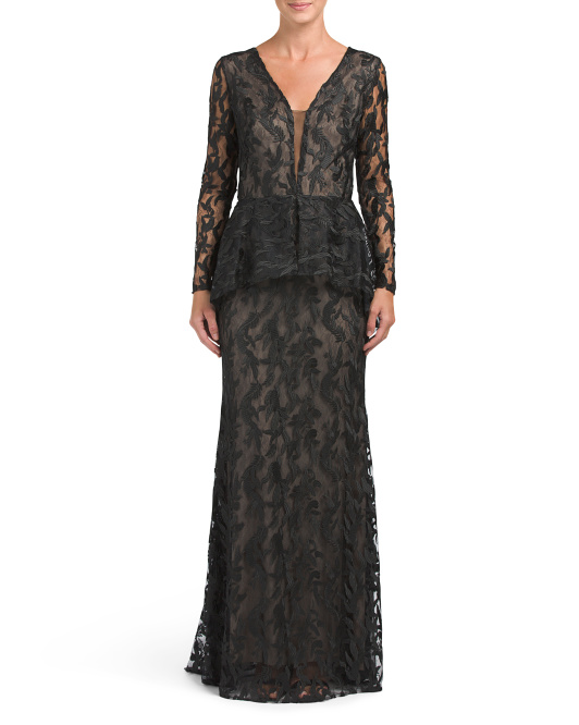 Made In Usa Peplum Lace Gown