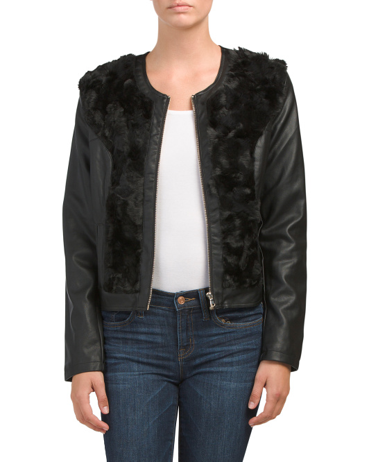 Juniors Faux Leather With Faux Fur