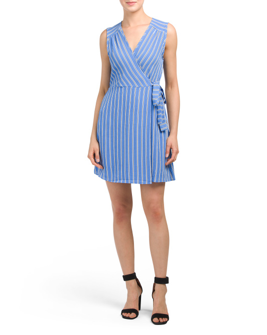 Juniors Striped Faux Wrap Dress