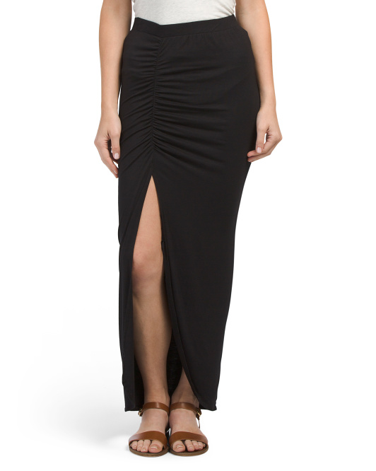 Juniors Ruched Maxi Skirt