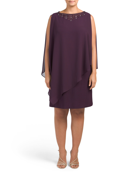 Plus Beaded Cape Over Shift Dress