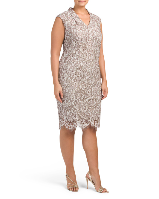 Plus Stretch Lace Midi Dress