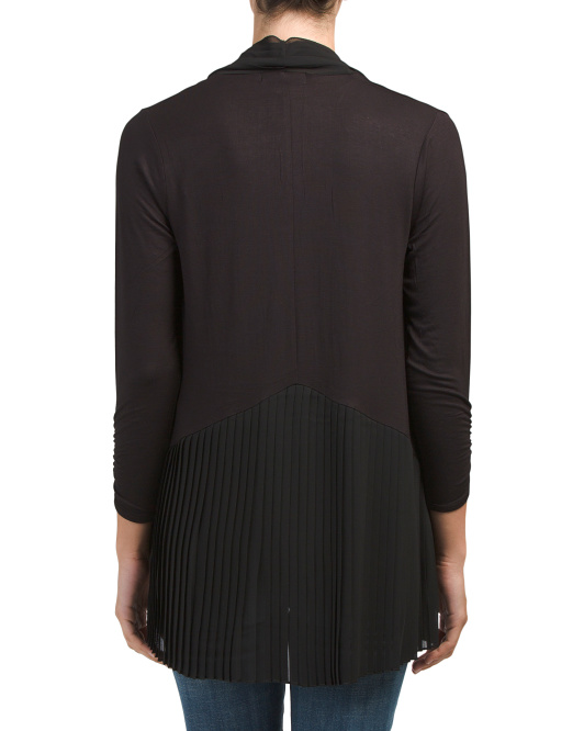Pleated Hem And Collar Open Cardigan