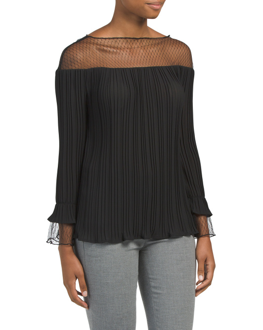 Illusion Neck Bell Sleeve Top