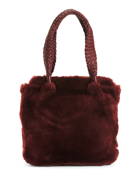 Made In Italy Leather Shearling Tote