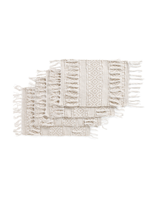 Made In India 4pk Enid Fringe Placemats