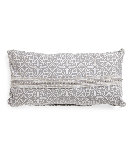 Made In India 14x26 Baya Embroidered Pillow