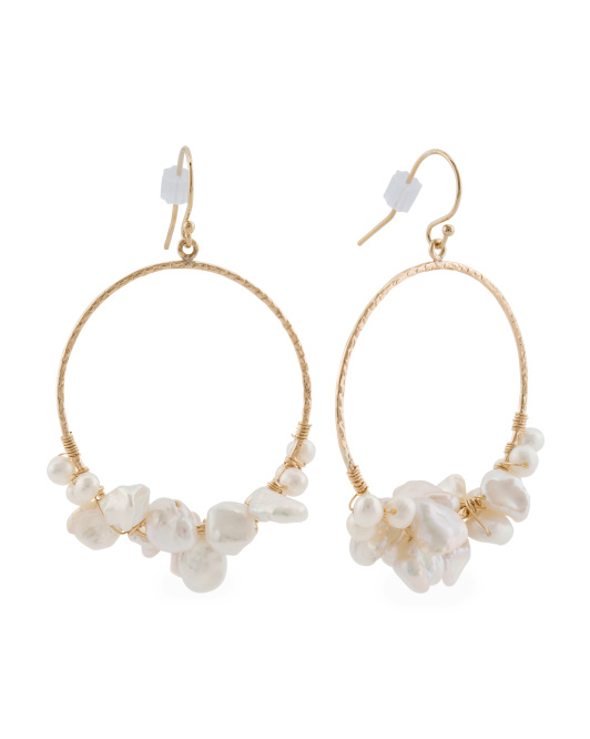 Made In USA Pearl And Gold Filled Circle Earrings