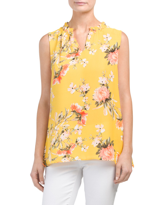 Sleeveless Tossed Floral Top