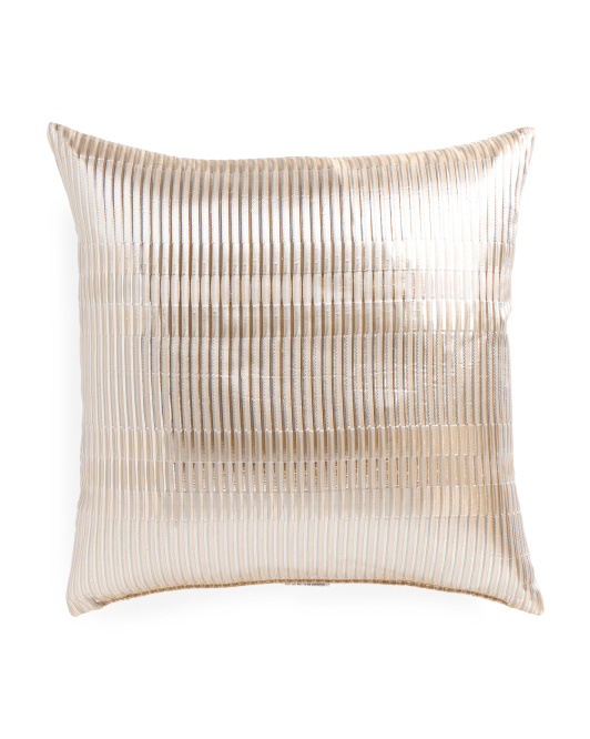 Made In USA 22x22 Grid Metallic Pillow